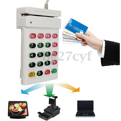 USB Magnetic Credit Card Reader POS ISO Machine Numeric Keypad Supermarket Shop