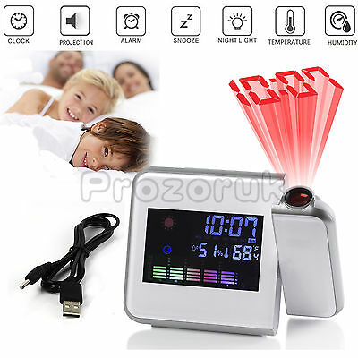 Projection LCD Digital Snooze Time Alarm Clock Projector Weather Station LED US