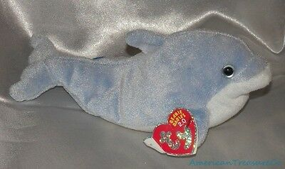 """Retired Ty Beanie Babies Plush 9"""" Blue Tie Dye Clipper The Dolphin Ice Blue Eyes"""