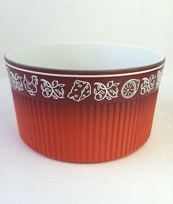 Nordic Ware Vintage Le Souffle Casserole Pan Dish Oven Baking Chicken Red Orange