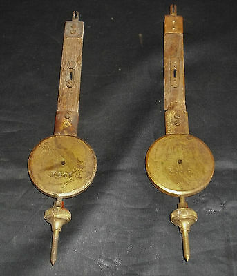 Good Pair Of Quality Brass & Oak Old Clock Pendulums