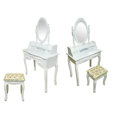 Bedroom Shabby Chic Vanity Makeup Dressing Table With Oval Mirror and Stool Set