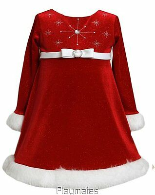 Bonnie Jean Baby Girls Red Sparkling Snowflake Christmas Dress Faux Fur Trm
