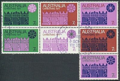 Christmas stamps Australia 1971 block of 7 used taken from FDC