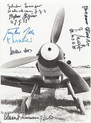 Rare  Luftwaffe  Me Bf 109 Photo Signed by 8 Luftwaffe Fighter Pilots