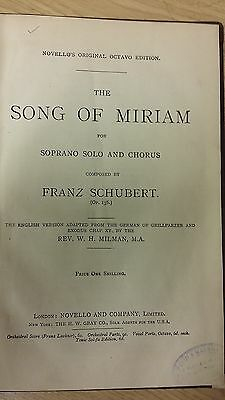 Schubert: The Song Of Miriam: Music Score (H3)