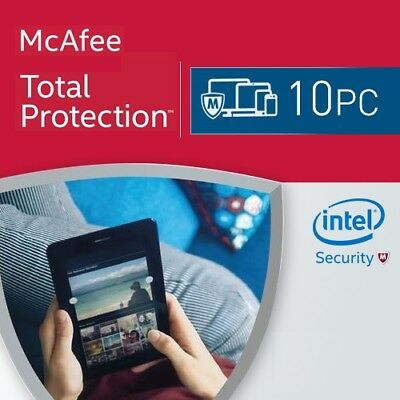 McAfee Total Protection 10 PC 2019 VOLLVERSION Antivirus 2018 DE EU