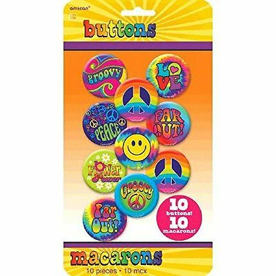 Groovy 60's buttons badges hippy peace party dress up 10 piece 4.4cm