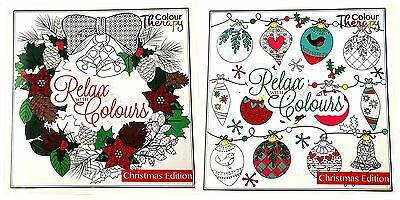 Christmas Colouring Book Adult Festive Gift Present Anti Stress Relaxing Xmas