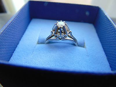 VINTAGE FRENCH 18ct WHITE GOLD SOLITAIRE DIAMOND RING SIZE L 1/2