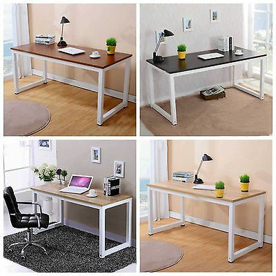 Wooden & Metal Computer PC Desk Home Office Study Table Bedroom Modern 3 Colors
