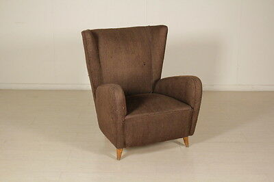 Armchair Springs Padding Fabric Upholstery Vintage Manufactured in Italy 1950s