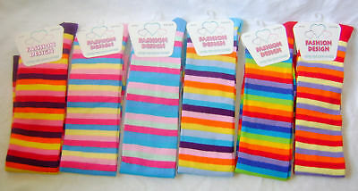 New Ladies Rainbow Striped Over Knee Socks 6 Designs Or Bulk Lot Of 6 Size 4-6