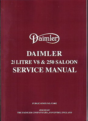 Daimler 2½ Litre V8 & 250 Saloon Workshop Manual Pub. E1002/3 Brooklands REPRINT
