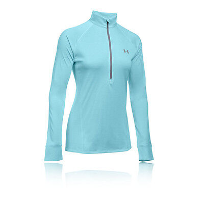 Under Armour Tech Womens Blue Long Sleeve Half Zip Training Sports Top