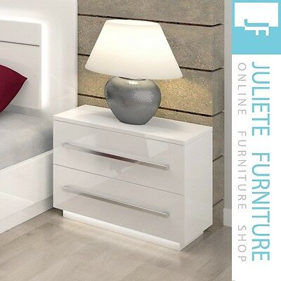 Bedside Table Night Cabinet Bedroom 2 Drawers WHITE HIGH GLOSS___FREE DELIVERY!!