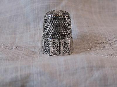 THIMBLE STERLING SILVER SIMONS BROS. SIZE 7 10 PANEL DESIGN ENGRAVED monogramed