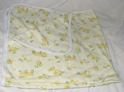 Vintage 70's Carters Train Clown Toys Cotton Baby Blanket Yellow Security Lovey