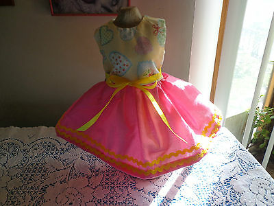 doll clothes dress for 18 inch american girl yellow calico heart homemade 46