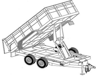 "12'x6'4"" Hydraulic Dump Trailer Plans Blueprints"