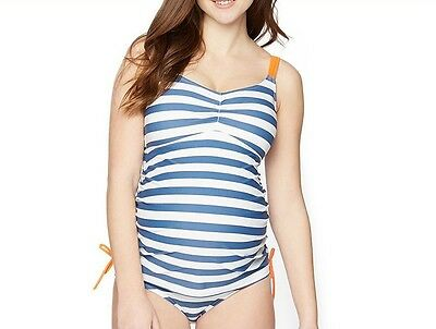 NEW 2 Piece Blue Stripe Motherhood Maternity Bathing Swim Suit Tankini NWT - S M