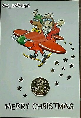 1996 Fifty Pence 50p Santa With Biplane Gibraltar In Christmas Card UNC
