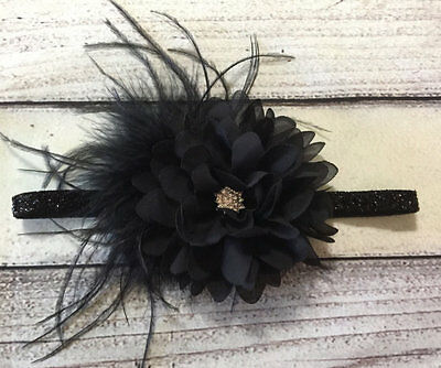 Vintage Black Flower /Feathers  Baby/Toddler /Girl Headband