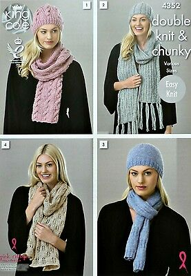 KNITTING PATTERN Ladies Scarves and Hats Chunky DK King Cole 4352