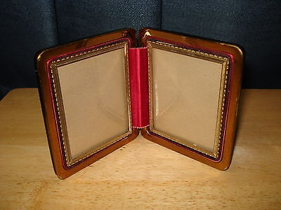 Vintage Leather Double Picture Sweetheart Folding Frame Travel Case