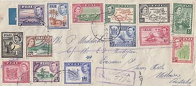 Stamp Fiji KGV1 & QE2 various on cover registered airmail to Australia, scarce
