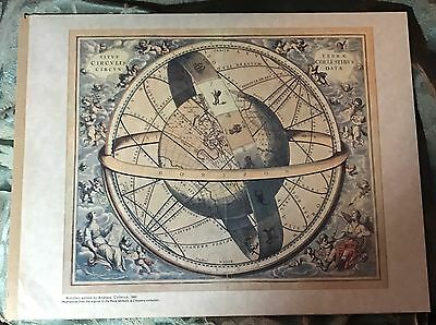 Vintage Armillary Sphere by Andreas Cellarius 1660 Reproduction Antique Print