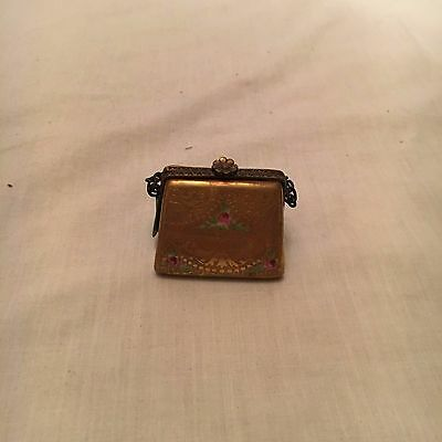 LIMOGES 24ct GOLD PURSE with Pink Roses ( Antique ) Retired
