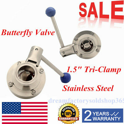 "1.5"" Tri-Clamp Sanitary Stainless Steel 304 Butterfly Valve Silicone Sealing USA"