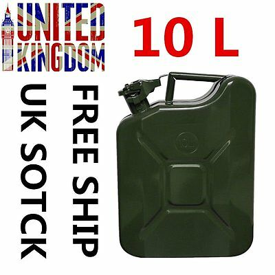 New Jerry Can 10 L Litre Metal Fuel Diesel Gasoline Petrol Oil Army Green UK