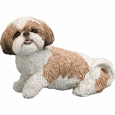 Sandicast Mid Size Gold and White Shih Tzu Sculpture, Sitting