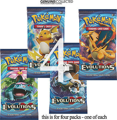 4 Booster Packs XY12 Evolutions Pokemon 10-Cards/Packet | Sealed English Genuine