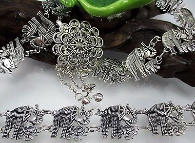 Elephant Vintage Thai Handcraft Metal Chain Belt Costume Women Fashion Wedding