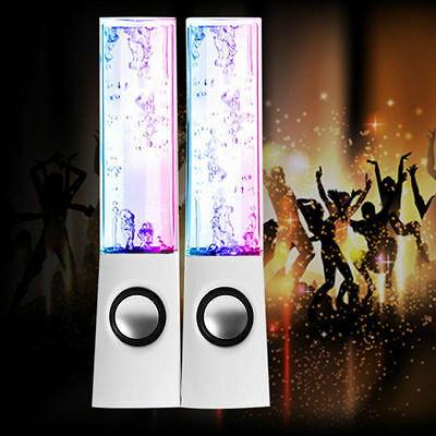 USB Water Dancing Fountain Stereo Speakers Set for PC Laptops Tablets Mobiles UK