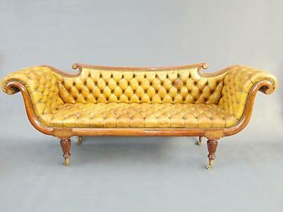 A Fine Regency Brass Inlaid Buttoned Leather Sofa