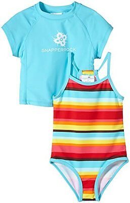 Snapper Rock, Set costume da bagno e maglietta anti UV per bambina, Blu (Retro G