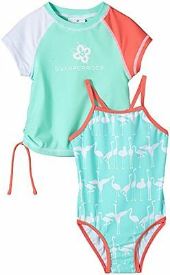 Snapper Rock, Set costume da bagno e maglietta anti UV per bambina, Verde (Flami
