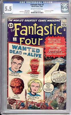 Fantastic Four # 7  Wanted Dead or Alive !  CGC 5.5 scarce book !