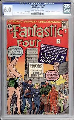 Fantastic Four # 9  The End of the Fantastic Four !  CGC 6.0 scarce book !
