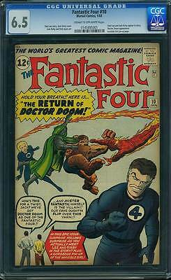 Fantastic Four # 10  The Return of Doctor Doom !  CGC 6.5 scarce book !