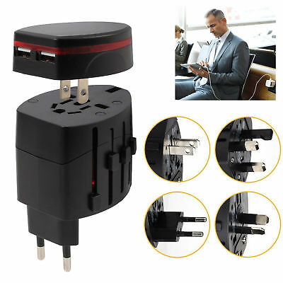 Universal World Wide International Multi Travel Plug Charger Adapter 2 USB Port