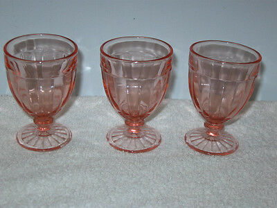 """Anchor Hocking Glass  """"pillar Optic""""  Pink Footed Cordials (3)"""