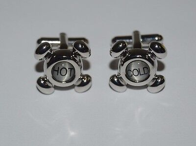 NICE Sink Faucets Hot and Cold PLUMBER Silver Tone Men's Cuff Links HTF