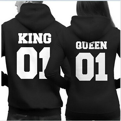 King 01 And Queen 01 Couple Hoodie Matching Hoodies Pullover Jumper Tracksuit US