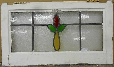 """MID SIZED OLD ENGLISH LEADED STAINED GLASS WINDOW Nice Floral 24"""" x 13.75"""""""