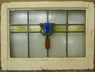 """MID SIZED OLD ENGLISH LEADED STAINED GLASS WINDOW Sweet Floral 22.25"""" x 16.25"""""""